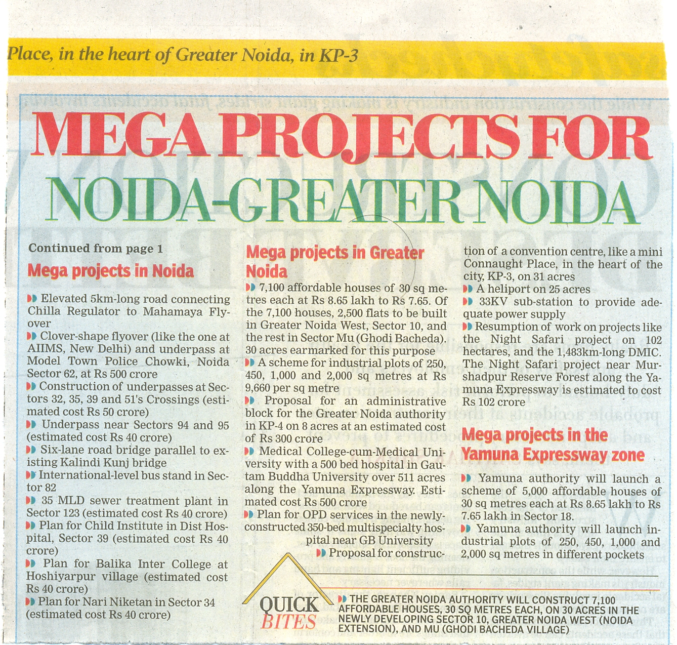 MEGA PROJECTS FOR NOIDA-GREATER NOIDA